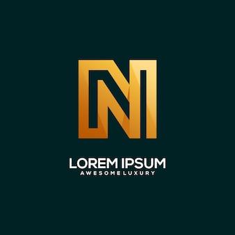 Letter n logo luxury gold color illustration