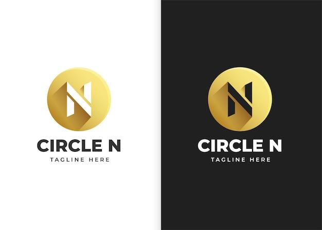 Буква n логотип векторные иллюстрации с дизайном в форме круга