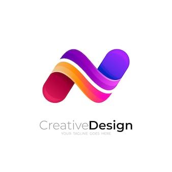 カラフルなデザインベクトル、3dスタイルの文字nロゴ