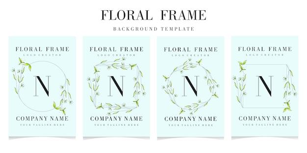 Letter n logo with floral frame set