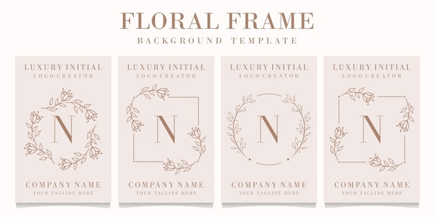 Letter n logo with floral frame template