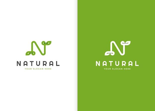 Letter n logo with leaf icon design