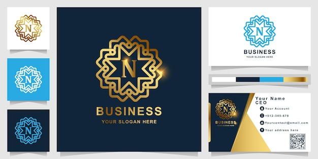 Letter n luxury golden logo template with business card design.