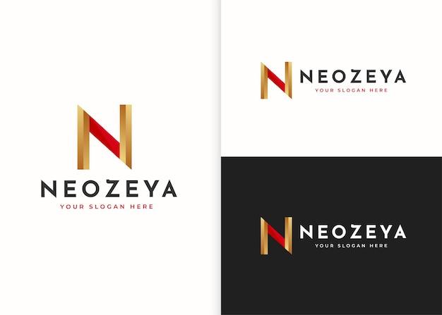 文字n高級ロゴデザインテンプレート。ベクトルイラスト