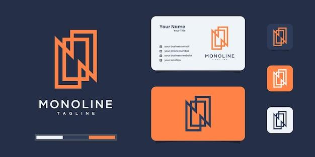 文字n高級ロゴデザインテンプレート。