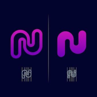 문자 n 현대적인 그라데이션 색상 스타일