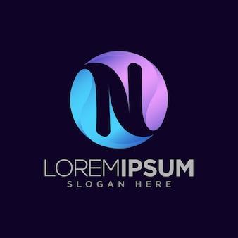 Letter n modern logo inside a circle