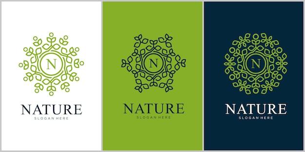 文字nネイチャーラインアートスタイルのロゴデザイン