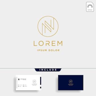 Letter n nn monogram logo design minimal icon with black color