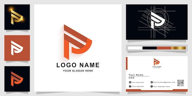 名刺デザインの文字nまたはpモノグラムロゴテンプレート
