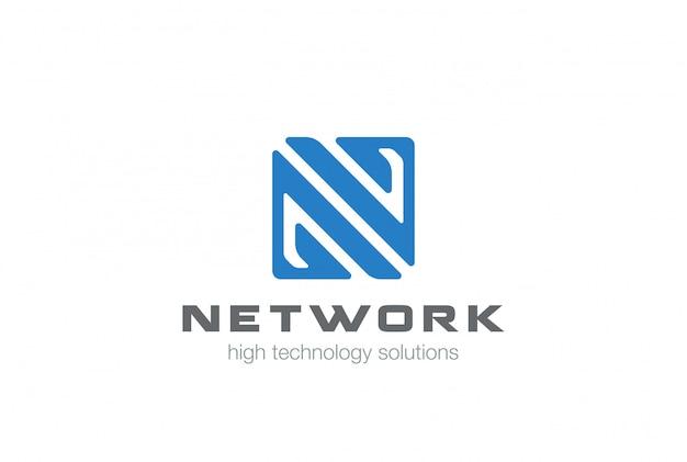 Буква n квадратной формы логотип вектор значок.