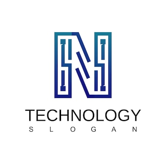 Letter n technology logo with circuit symbol