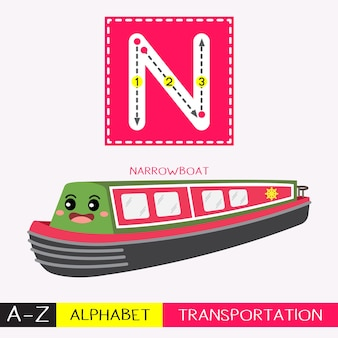 Letter n uppercase tracing transportations vocabulary