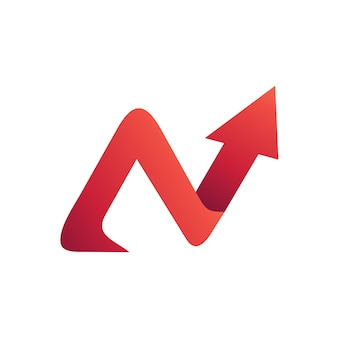 Letter n with arrow logo template