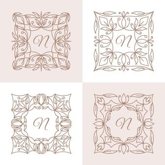 花のフレームのロゴのテンプレートと文字n