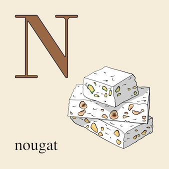 Letter n with nougat