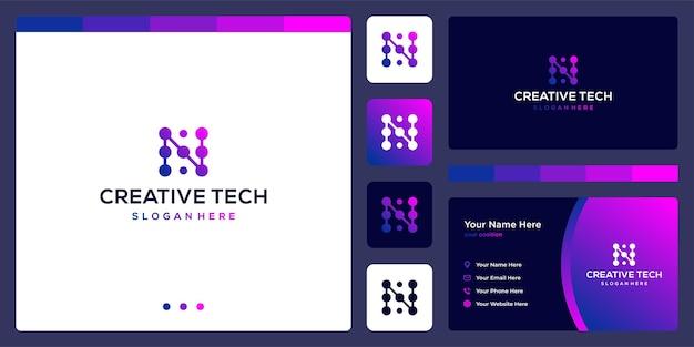 기술 스타일과 그라디언트 색상이 있는 문자 n. 명함.