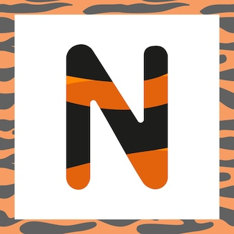 Letter n with tiger pattern festive font and frame from orange with black stripes alphabet symbol fo...