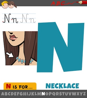 Letter n worksheet with necklace object