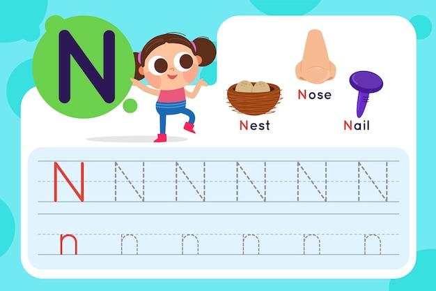 Foglio di lavoro lettera n con nido e naso