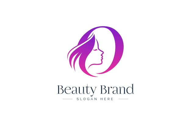 Letter o beauty logo design. woman face silhouette isolated on letter o.