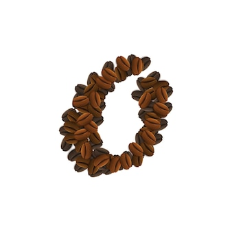 Letter o of coffee grains