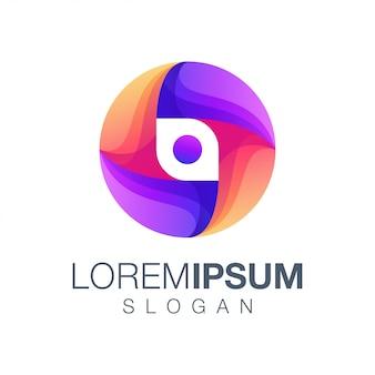 Буква о градиент цветной логотип