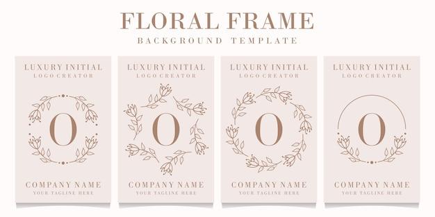 Буква o дизайн логотипа с цветочным шаблоном кадра