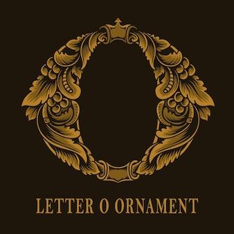 Letter o logo vintage ornament style