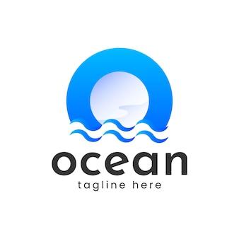 Letter o ocean water wave logo vector design
