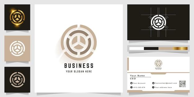 Буква o или круг вензель логотип с дизайном визитной карточки