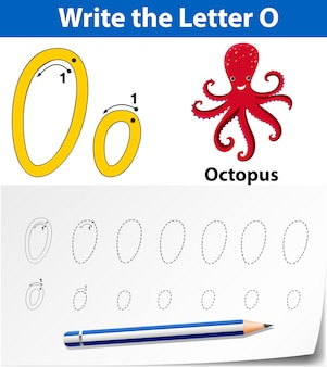アルファベットのワークシートをトレースする文字o