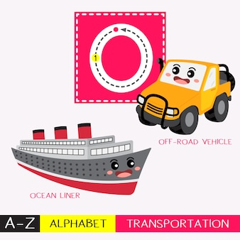Letter o uppercase tracing transportations vocabulary
