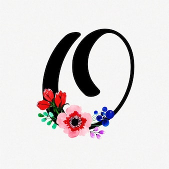 Letter o watercolor floral background