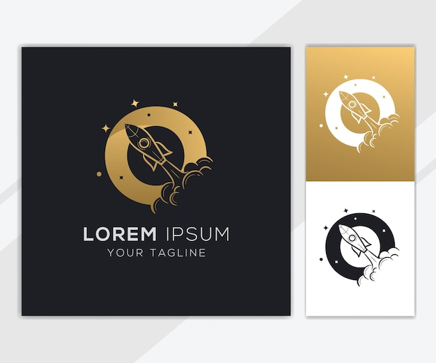豪華な抽象的なロケットのロゴのテンプレートと文字o