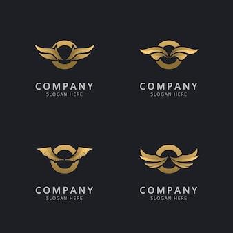 Буква o с роскошным абстрактным шаблоном логотипа крыла
