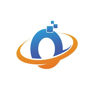Letter o with orbit shape technology logo template
