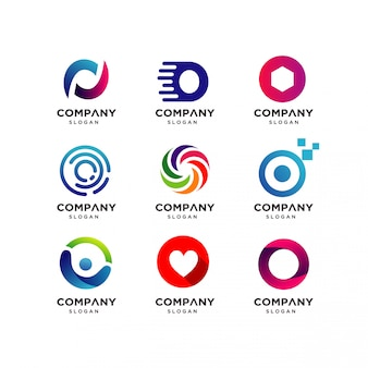 Коллекция шаблонов дизайна логотипа letter o