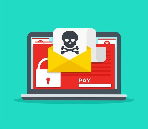 マルウェアのラップトップ上の手紙。ハッカー攻撃、ウイルス-恐喝、電子メール詐欺、暗号化ファイル。インターネット上のセキュリティの概念。