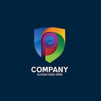 Буква p и логотип щита