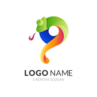 文字pカメレオンロゴ、文字pとカメレオン、カラフルなスタイルの組み合わせロゴ