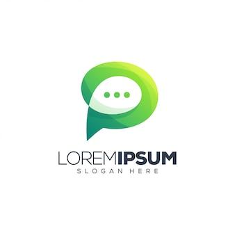 Letter p chat logo