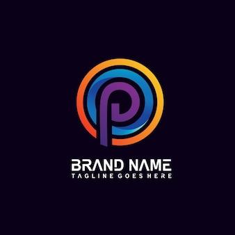 Letter p in circle shape logo design