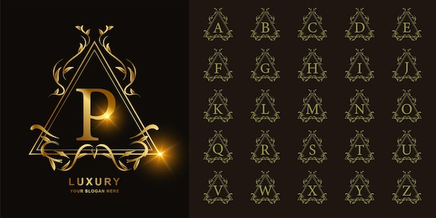 Letter p or collection initial alphabet with luxury ornament floral frame golden logo template.