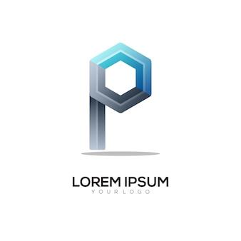 Letter p colorful logo design template modern
