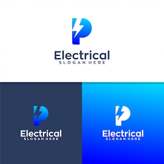 Letter p electrical logo design