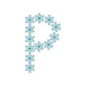 雪片からの文字p。新年とクリスマスのためのお祝いのフォントや装飾