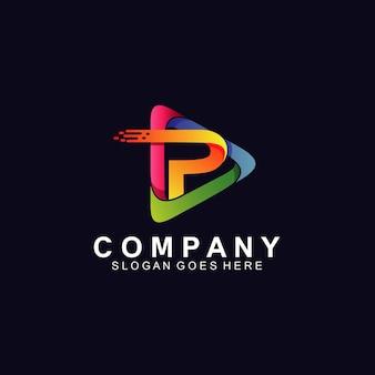 기술 로고 디자인을위한 플레이 아이콘의 문자 p