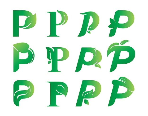 Letter p leaf logo design