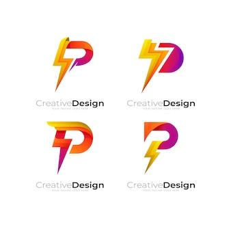 文字 p のロゴと雷のデザイン テンプレート、コレクションのロゴ